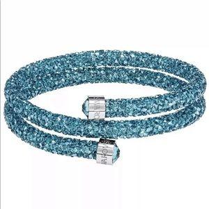 Swarovski Crystal Blue Crystldust Wrap Bangle New